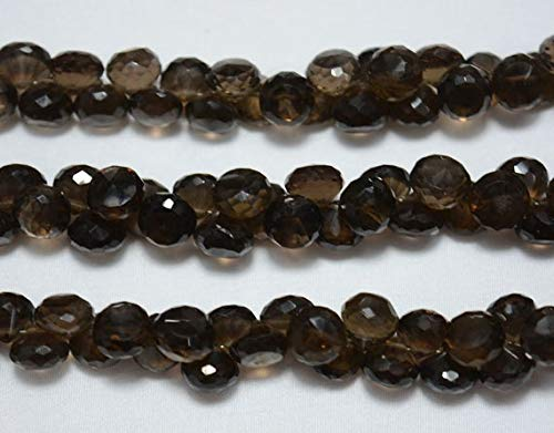 GemAbyss Beads Gemstone Smoky Quartz Faceted Onion Beads, Smoky Quartz Beads, 9mm Approx, Faceted Cut Onion, Gemstone Beads, 8 Inch Strand Code-MVG-31429