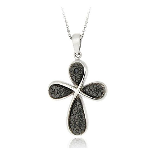 Glitzs Jewels Silver Tone Over Brass Black Simulated Diamond Accent Ribbon Cross Necklace