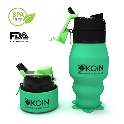 Koin Collapsible Silicone Water Bottles - Foldable Leak Proof Canteen w/ Carabiner - Travel Sports Outdoors Easy To Clean and Store Portable Flask - FDA Approved, BPA Free, Non Toxic, 18fl oz