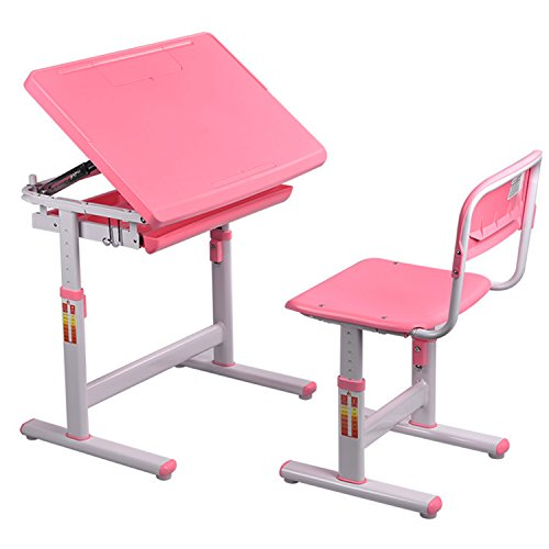 I STUDY Height Adjustable Children's Desk and Chair Set For Kids Work Station, Study Area (Pink) by Kinbor