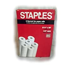 "Staples Thermal Fax Paper, 98' roll x 1/2"" core"