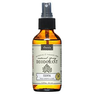 All Natural Deodorant Spray made with 100% organic ingredients, Long Lasting Protection, Non Toxic, Paraben & Aluminum Free, 4 fl.oz / 120 ml from Thesis Beauty