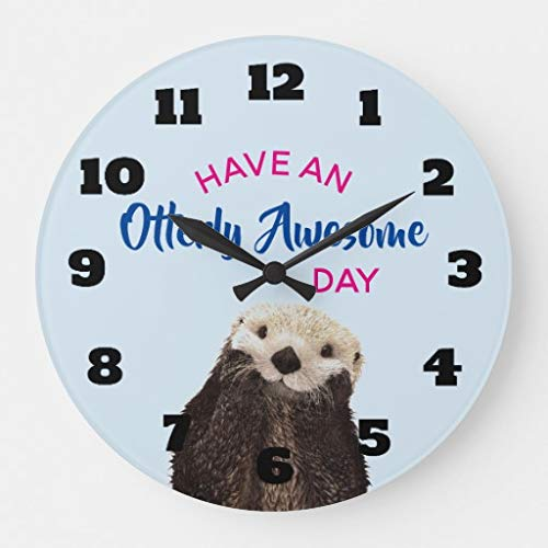 (Moonluna Have an Otterly Awesome Day Cute Otter Photo Wooden Wall Clock for Living Room Bedroom Kitchen Home Office Decoration 12 Inches)