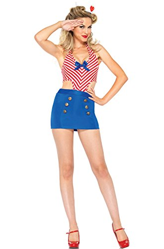 Leg Avenue Women's 2 Piece Shore Leave Sailor Costume, Red/Blue, Medium/Large
