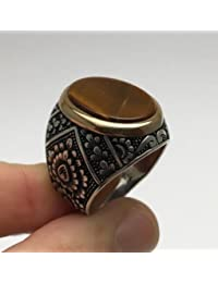 Turkish Ottoman Jewelry Seljuq Tiger's Eye 925K Sterling Silver Men's Ring