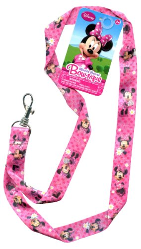 Disney Minnie Mouse Pink Bowtique Pin Trading Keychain Lanyard 18 (Fancy Dress Outlet)