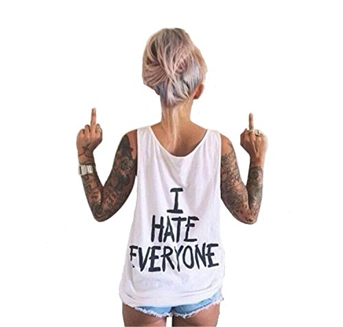 Women's I Hate Everyone Letters Print Sleeveless T-Shirts Tees Casual Vest Blouse Tops White M