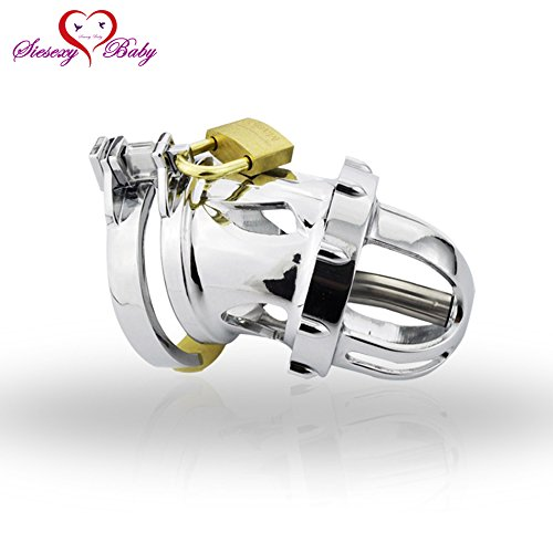ccTina A199 Cock Lock Stainless Steel Penis Cage Removable Penis Plug Cock Ring Sleeve Male Chastity Device Cage Belt Sex Toys For Men 1pcs by ccTina