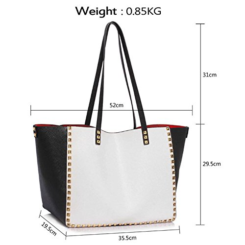 Xardi Londra grande morbida similpelle Tote borsa a tracolla Girls College zip sacchetto Black/White
