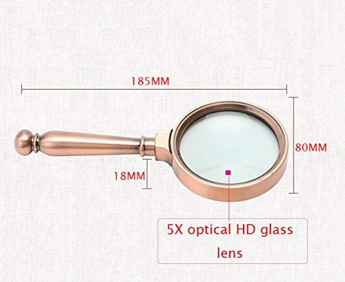 FDJWY Reading Magnifying Glass, 5X Optical High-Definition Glass Lens, Mini Portable Handheld Metal Magnifying Glass, Study and Appreciation of Office Learning (Color : Bronze)