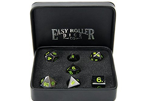 Serpent's Blood Green Gun Metal Polyhedral Dice Set | 7 Piece | Professional Edition | FREE Display Case | Hand Checked Quality Control and Precision Machining Accuracy