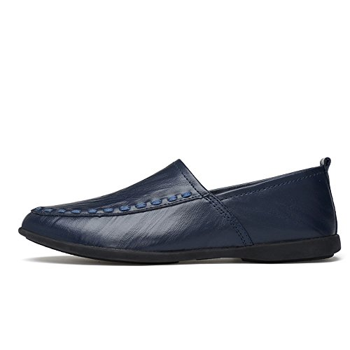 Dimensione slip pelle da Nero scamosciata Mocassino fodera Blu in 36 uomo shoes vera EU in on pelle con Color Xiazhi aEpqPwf