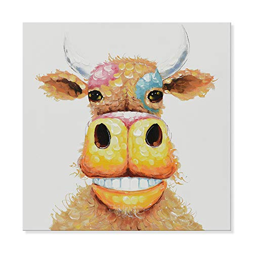 JAPO ART - Animal Colorful Smile Cow 100% Hand Painted Oil Painting with Stretched Frame Wall Art for Kids Room Bedroom Living Room Home Decor 24 x 24 Inch