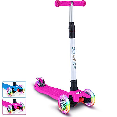 BELEEV Kick Scooter for Kids 3 Wheel Scooter, 4 Adjustable Height, Lean to Steer with PU LED Light Up Wheels for Children from 3 to 13 Years Old (Bright Pink)
