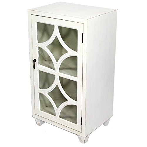 Heather Ann Creations Free Standing Single Drawer Distressed Cabinet with Semi Circle Cross Glass Window Inserts, 30'' x 18'', White