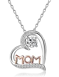 Sterling Silver Cubic Zirconia MOM Heart Pendant Necklace Mothers Day Gift for Women Jewelry