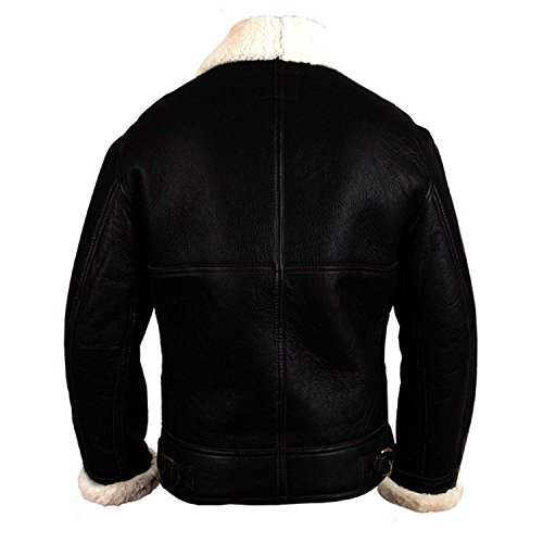 Fashion Shearling Black Flying First Sheepskin Winter White Black Jacket Artificial Aviator Leather Fur B3 Bomber Pilot rqrXAFpw