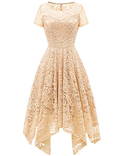 - Bridesmay Women's Elegant Short Flare Sleeves Floral Lace Asymmetrical Hanky Hem Cocktail Party Bridesmaid Dress Champagne S