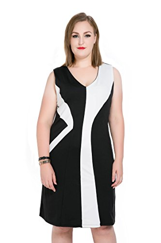 Cute Ann Women's Sleeveless Color Blocked Plus Size Summer Casual Dress (US22W, black) -