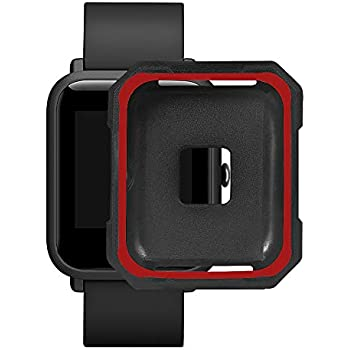 SUKEQ for Amazift Bip Watch Case, Soft TPU Full Cover Case Shockproof Screen Protector Skin Shell for Huami Amazfit Bip Youth Watch (Red)