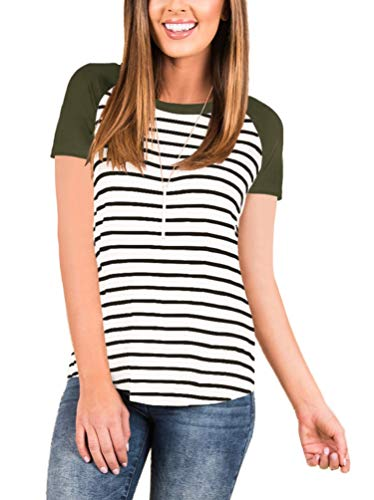 Women's Loose Short Sleeve Raglan Striped T Shirt Round Neck Baseball Tunic Blouse Tops Army Green Medium