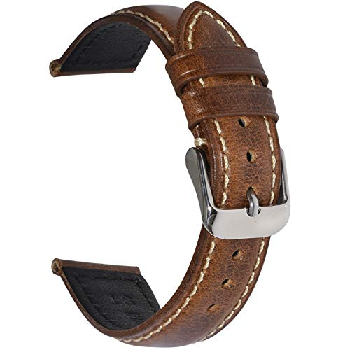 (EACHE Vintage Leather Watch Band Watch Strap Oil Wax Genuine Leather Replacement Watchband for Men for Women 18mm Light Brown Silver Buckle)