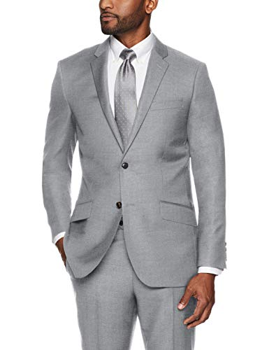 Buttoned Down Men's Slim Fit Super 110 Italian Wool Suit Jacket, Light Grey, 38 Regular