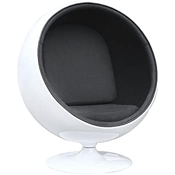 Fine Mod FMI1150 BLACK Fiberglass Ball Chair, Black