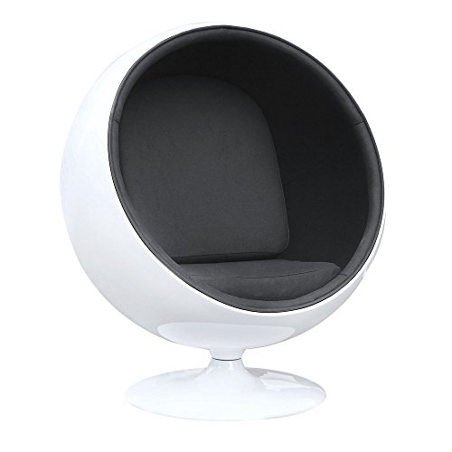 Egg Pod Chair - Fine Mod FMI1150-BLACK Fiberglass Ball Chair, Black