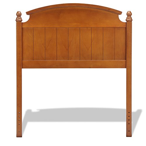Danbury Wooden Headboard Panel with Curved Topped Rail and Carved Finials, Walnut Finish, - Danbury Stores