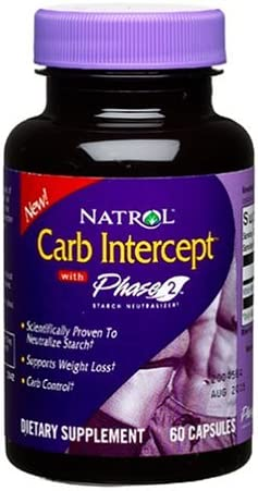 Natrol Carb Intercept with Phase 2 Starch Neutralizer, 60 Capsules Pack of 2
