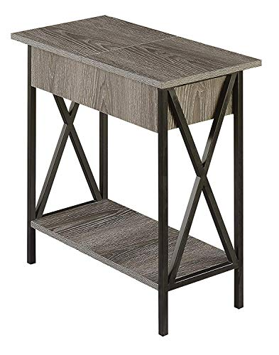 Convenience Concepts 161859WGY Tucson Electric Flip Top End Table, Weathered Gray