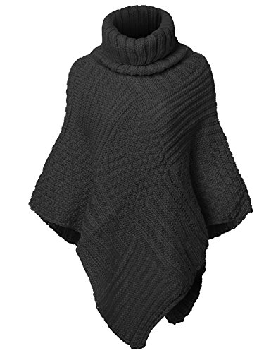 Warm Turtleneck Batwing Sleeve Poncho Sweaters,002-Black,Free (S-L)