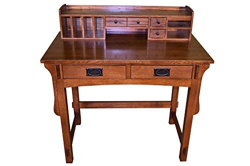 Mission Quarter Sawn Oak Desk with Two Drawers & Storage Antique Oak Library Table