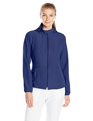HeartSoul Scrubs Women's Break On Through in Da Hood Warm-Up Jacket, Navy, Medium