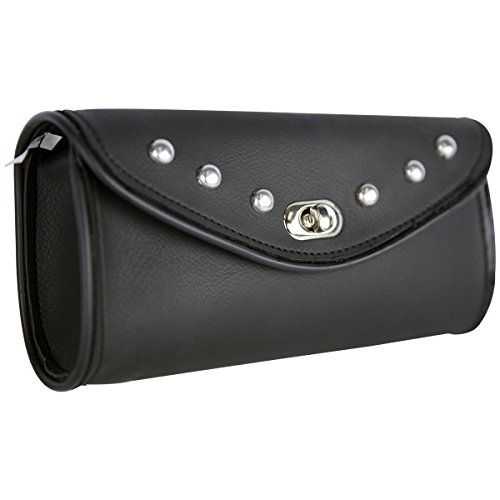 Tool Roll Studded Leather - WS12 Studs Motorcycle Windshield Bag