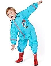 PERLETTI Regenpak Kinderen Waterdicht met Reflecterende Details - Regenjas Jumpsuit voor Kleine Jongens - Waterbestendige Overall met Capuchon voor Regen Modder Sneeuw
