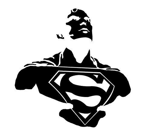 DD038 Superman Inspired Decal Sticker | 6.5-Inches By 6.3-Inches | Premium Quality Black Vinyl