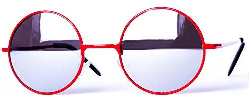 arrondi différentes charnière couleurs ronds rétro rond de et style ressort Rouge à 8058 verres Argenté soleil Miroir Lunettes 4Sq0fA