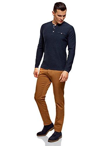 7900n Sur Pull Homme Bleu Oodji Boutons En Avec Ultra Col Coton qqvp0