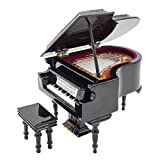 Odoria 1:12 Black Grand Piano with Stool Musical Instrument Music Box Miniaure Dollhouse