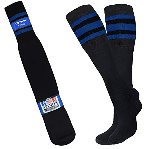 BLACK TUBE SOCKS WITH 3 ROYAL BLUE STRIPES 12-PAIRS, 8-PAIRS, 4-PAIRS RETRO OLD SCHOOL COSTUME SKATER SOCKS (4)