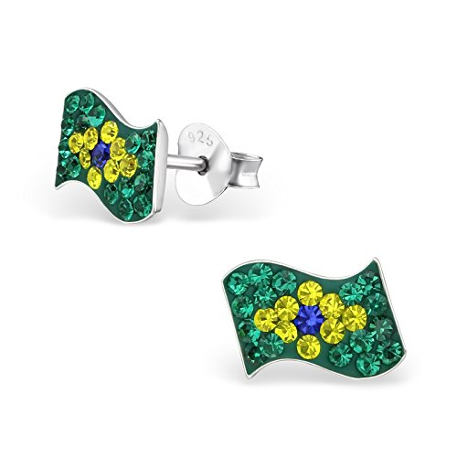 925 Sterling Silver Brazilian Flag Crystal Ear Studs
