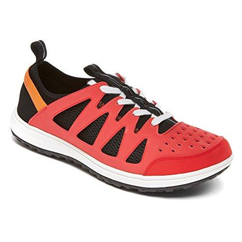 Rockport Mens Walk360 Tvätt Oxford Mode Sneakers Hög Risk Röd / Svart Läder
