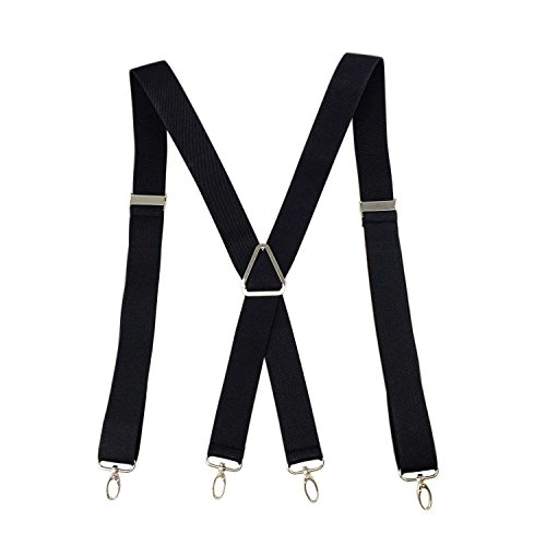 Romanlin Suspenders for Men Elastic X Back 4 Metal Swivel Hook Clip End Adjustable Black - Mens Swivel