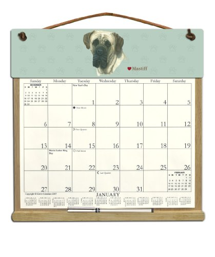 Wooden Refillable Dog Wall Calendar Holder filled with a 2017 calendar and an order form for 2018- MASTIFF