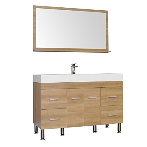 Alya Bath At-8042-LO 47 Single Bathroom Vanity with Mirror in Light Oak