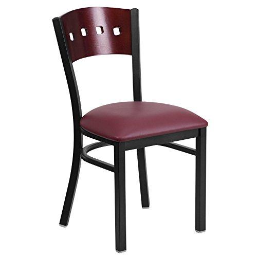 (Flash Furniture HERCULES Series Black 4 Square Back Metal Restaurant Chair - Mahogany Wood Back, Burgundy Vinyl)