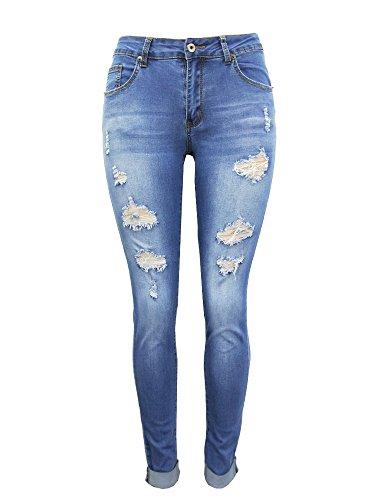 - Aodrusa Women's Skinny Butt Lift Distressed Jeans Elastic Waist Mid Rise Curvy Fit Light Blue US 8-10