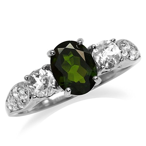 Silvershake 1.32ct. Green Chrome Diopside & White Topaz Gold Plated 925 Sterling Silver Engagement Ring Size 7
